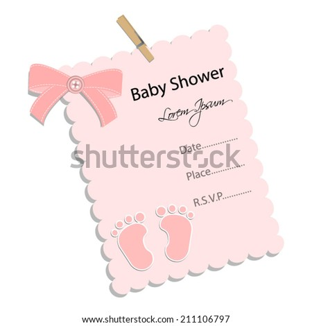 baby shower invitation for girl.Pink note with footprint .Vector eps10,illustration. - stock vector