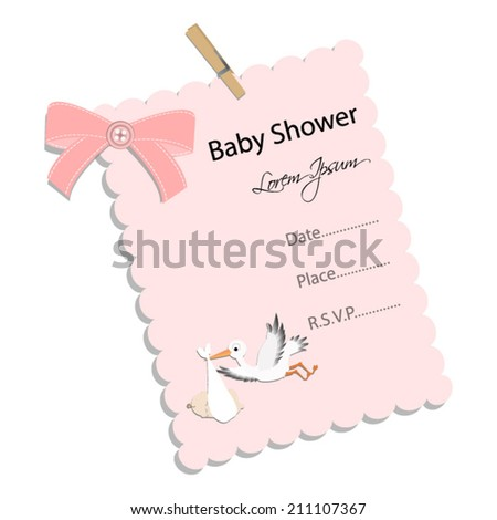 baby shower invitation for girl.Pink note with stork .Vector eps10,illustration. - stock vector