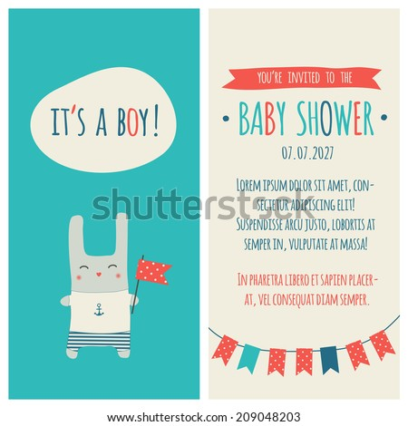 "Baby shower invitation ""It's a boy"". Marine style - stock vector"