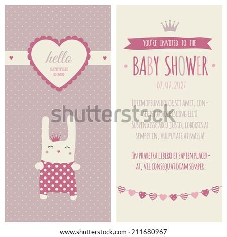 "Baby shower invitation ""Plum & pink"" - stock vector"