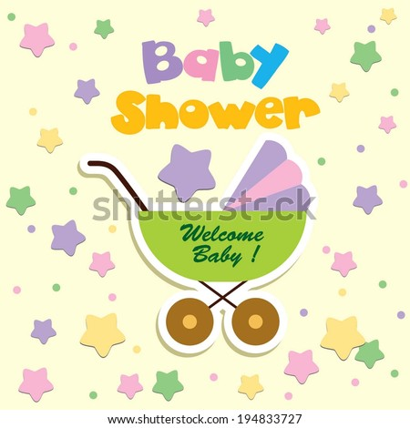 baby shower invitation template Cute vector card - baby arrival - stock vector
