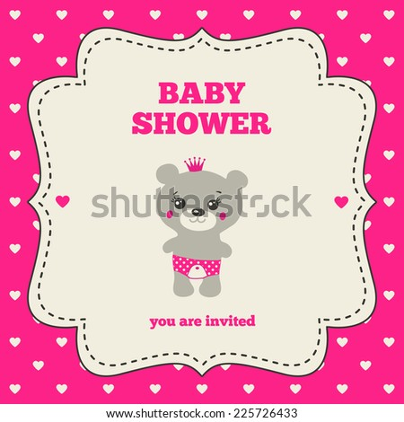 Baby shower invitation, template. Gray, bright pink and cream colors. Illustration of little teddy bear princess. Vintage frame on heart-shaped pattern - stock vector