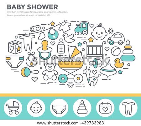 Baby shower invitation template, thin line, flat design - stock vector