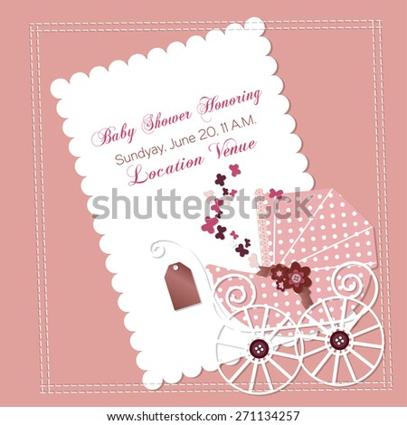 Baby shower invitation template vector illustration, happy birthday card for newborn baby girl with a pink vintage stroller, ribbons and scrap book elements - stock vector