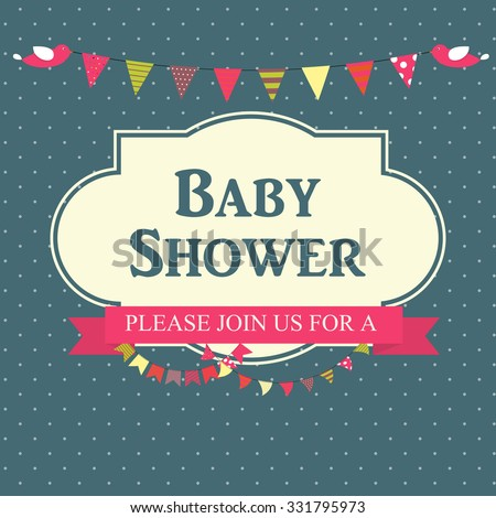 Baby Shower Invitation Vector Illustration EPS10 - stock vector