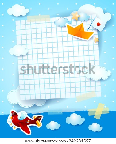 Baby shower invitation with airplane and paper boat, vector eps 10 - stock vector