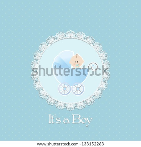 Baby Shower Invitation, with baby boy in stroller and lace frame.Vector eps10,illustration. - stock vector