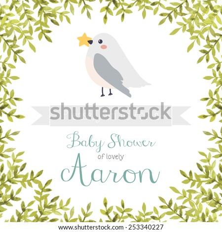 baby shower invitation with watercolor leaves frame, cute cartoon bird and ribbon on white background. Baby shower invitation template. Can be used for birthday invitations or greeting cards - stock vector