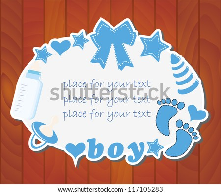 Baby shower on a wooden background/Vector illustration - stock vector