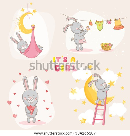 Baby Shower or Arrival Card - with Baby Bunny - in vector - stock vector