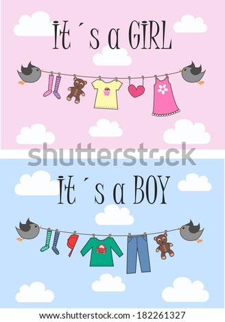 baby shower or newborn announcement - stock vector