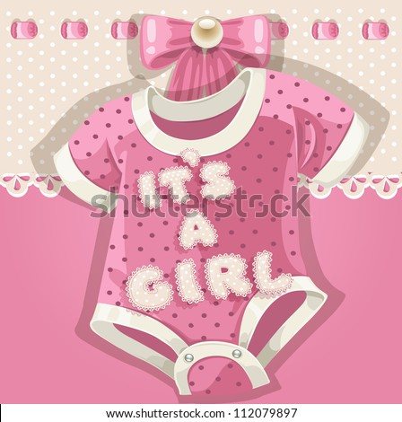 Baby shower pink card with baby shoes - stock vector