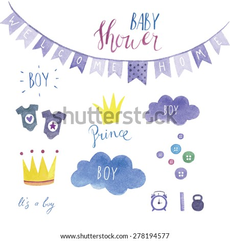 Baby shower set for boy - stock vector