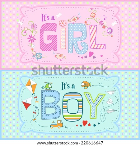 Baby shower - two cute cards for boy and girl with seamless texture with dots in the background. Can be used as print for clothes, cover design and others. - stock vector