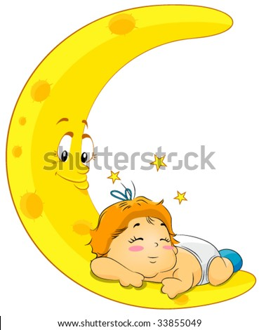 Baby Sleeping on Moon - Vector - stock vector
