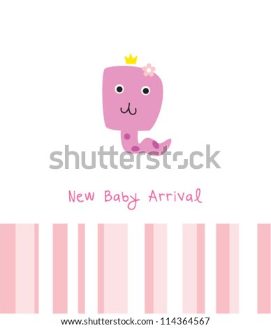 baby snake girl arrival greeting card - stock vector