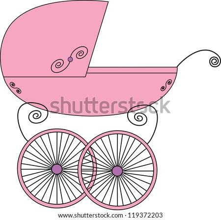 Baby stroller - stock vector