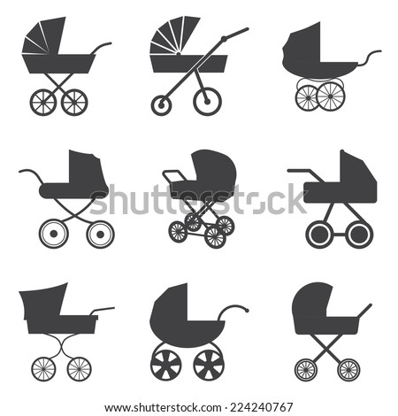 Baby stroller icons - stock vector