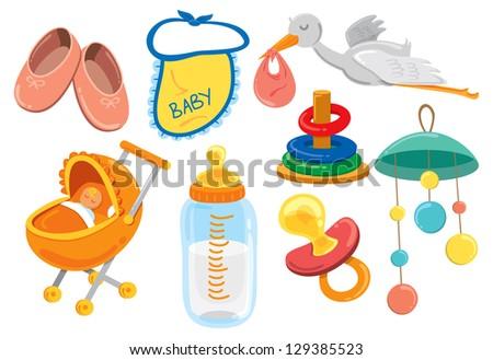 baby stuff cartoon icon - stock vector