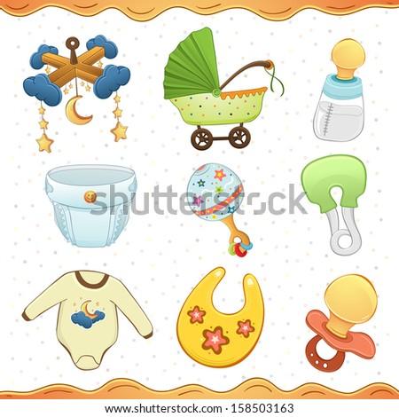 Baby stuff cartoon icon Collection  - stock vector