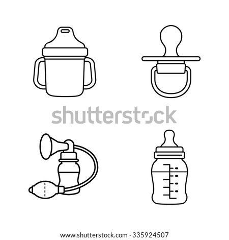 Baby stuff outlines vector icons - stock vector