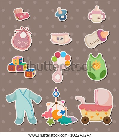 baby stuff stickers - stock vector