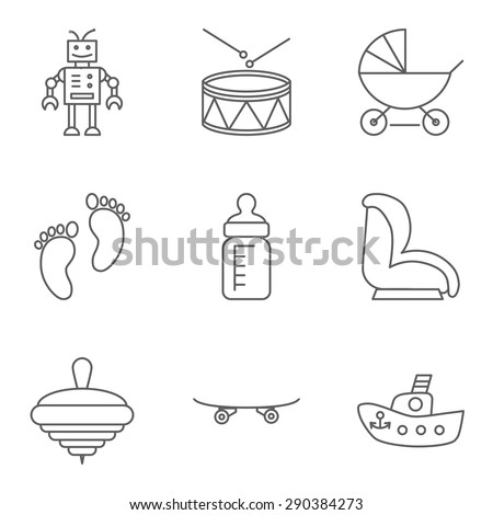 Baby thin line related vector icon for web and mobile applications. Set includes - robot, drum, stroller, feeding bottle, baby seat, whirligig, skateboard, foot. Logo, pictogram,  infographic element. - stock vector