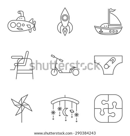 Baby thin line related vector icon set for web and mobile applications. Set includes - submarine, rocket, ship, highchair, scooter, diapers, whirligig, carousel, puzzle. Logo, pictogram, icon. - stock vector