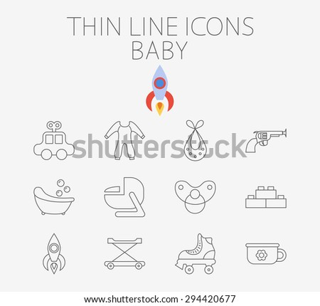 Baby thin line vector icon set for web and mobile applications. Set includes - car, bib, blocks, potty, roller skate, gun, bath, car seat, nipple, rocket, baby walker. Pictogram, infographic element. - stock vector