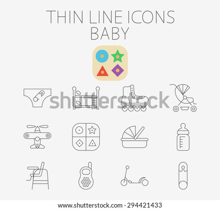 Baby thin line vector icon set for web and mobile. Set includes - pin, airplane, crib, pram, scooter, diapers, bunk bed, roller skate, educational game, feeding bottle, chair for babies, baby monitor. - stock vector