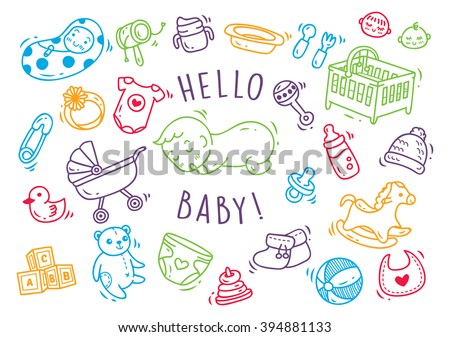 Baby toys and accessories doodle - stock vector