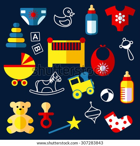 Baby toys and objects flat icons with crib, stroller, bottles, bib, baby dummy, rattle, diaper, clothes, bear, horse, train, pyramid, ball and blocks - stock vector