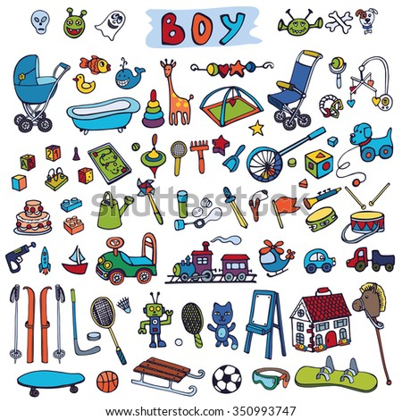 Baby Toys icons on white background,Doodle isolated Vector illustration.Colored set. - stock vector