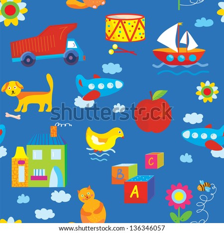 Baby toys seamless funny pattern - stock vector