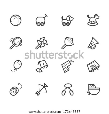 baby toys vector black icon set on white background - stock vector