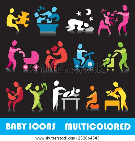 Baby vector icons,  multicolored series - stock vector