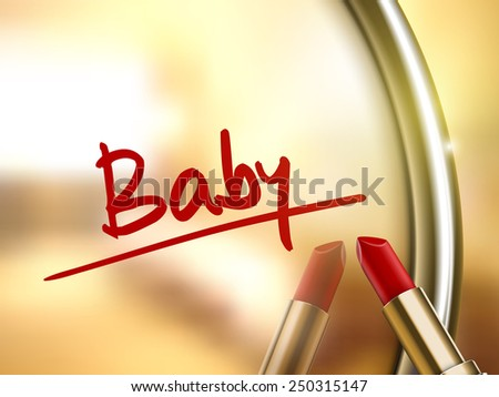 baby word written by red lipstick on glossy mirror  - stock vector