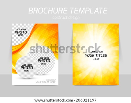 Back and front bright orange abstract design with circles for booklet design - stock vector