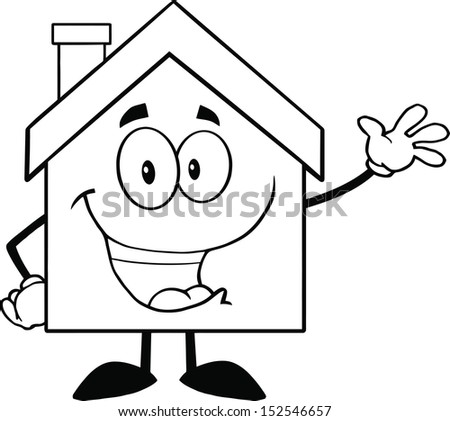Back And White House Cartoon Mascot Character Waving For Greeting - stock vector