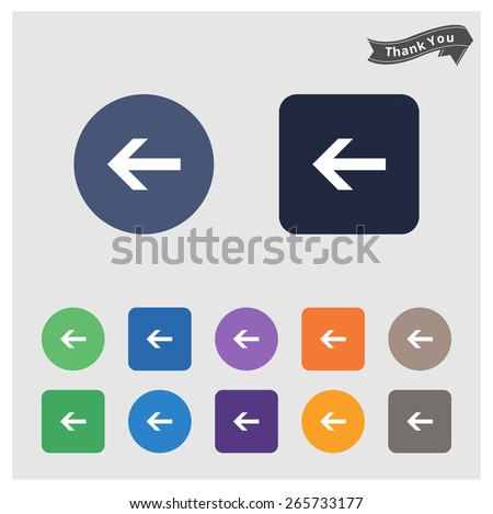 back arrow icon. flat solid color background circle and rectangular background. vector illustration  - stock vector