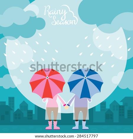 Back of Boy and Girl with Umbrella Rainy Season , Monsoon, Rain,  - stock vector