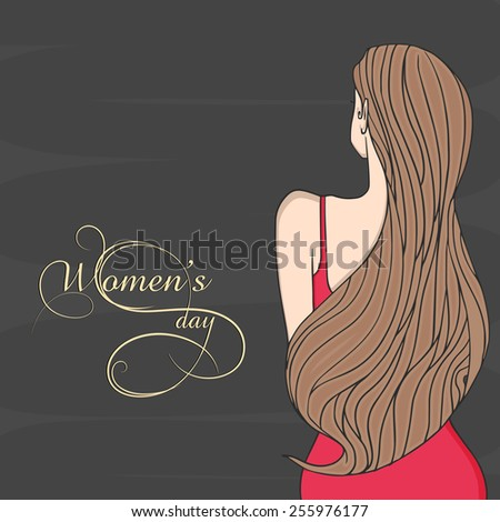 Back pose of a young slim girl with long hairs on black background for International Women's Day celebration. - stock vector