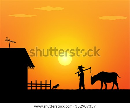 Back to home. Alone life farmer in countryside. - stock vector
