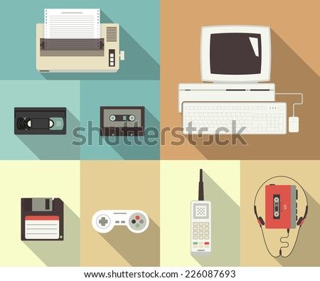 Back to nineties vector conceptual flat set of printer, computer, video cassette, floppy disk, telephone and player with headset - stock vector