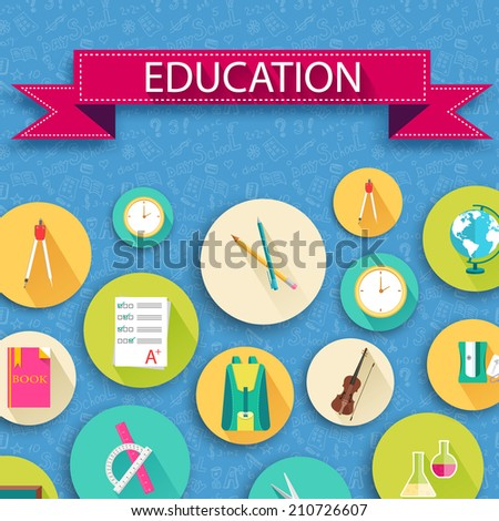 back to school abstract background of flat icons orange concept. Vector illustration design - stock vector