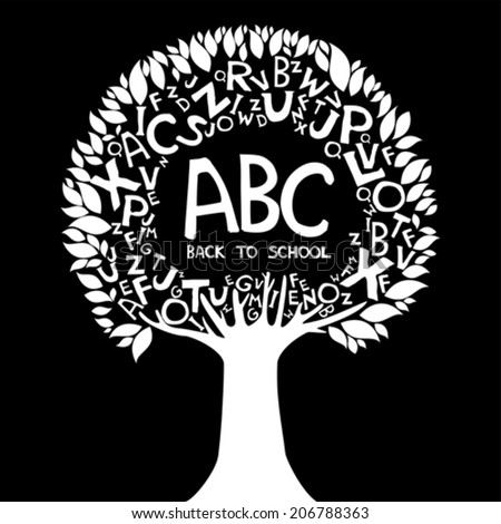 Back to school background. Abstract tree with white letters isolated on black background. Vector illustration  - stock vector