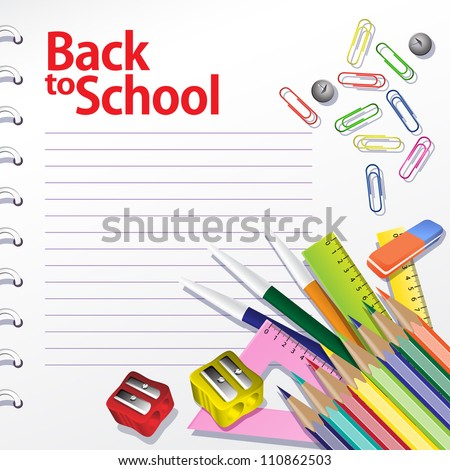 Back to school background. Buttons, paper clips, pencils, rulers. Grouped for easy editing. - stock vector
