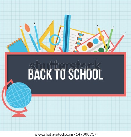 Back to school background - flat style - stock vector