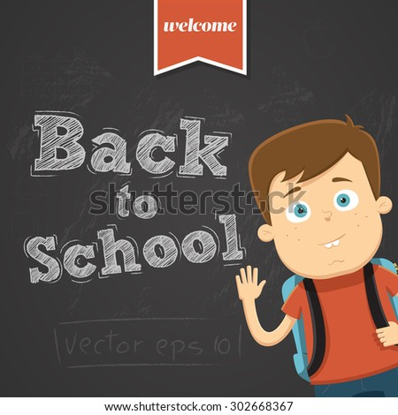Back to school background with character - stock vector