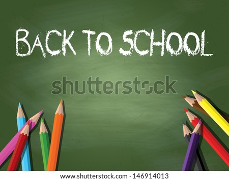 Back to school background with coloured pencils on a chalkboard - stock vector